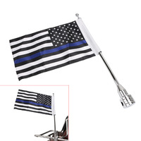 Motorcycle Chrome Rear Side Mount Flag Pole Thin Blue Line USA Flag For Harley Davidson HD