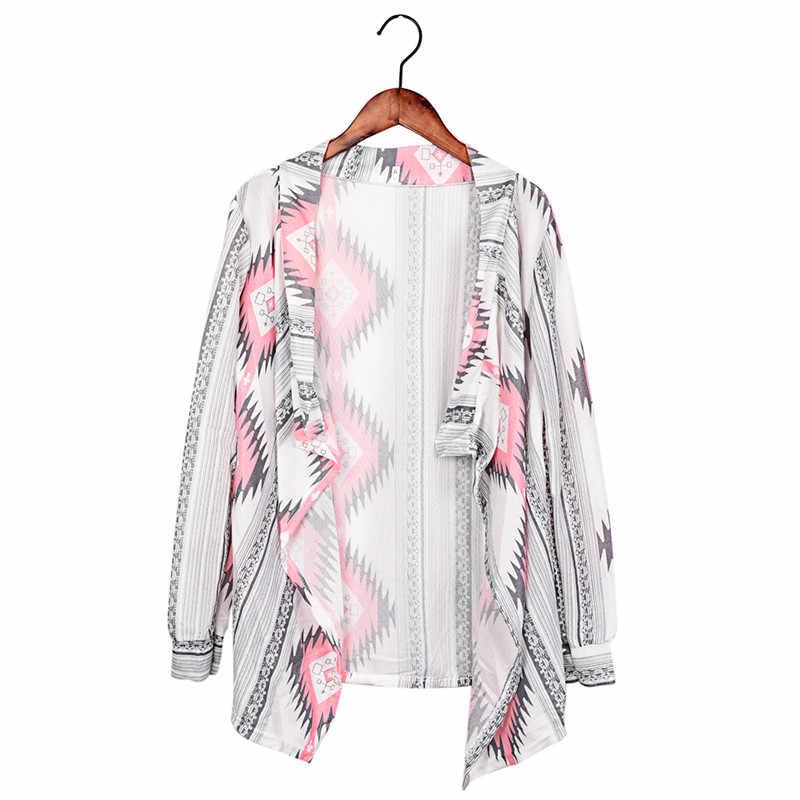 Модное кимоно вязаный кардиган с длинными рукавами свитер пончо с принтом нерегулярные сексуальные женские теплые куртки кардиганские женские топы
