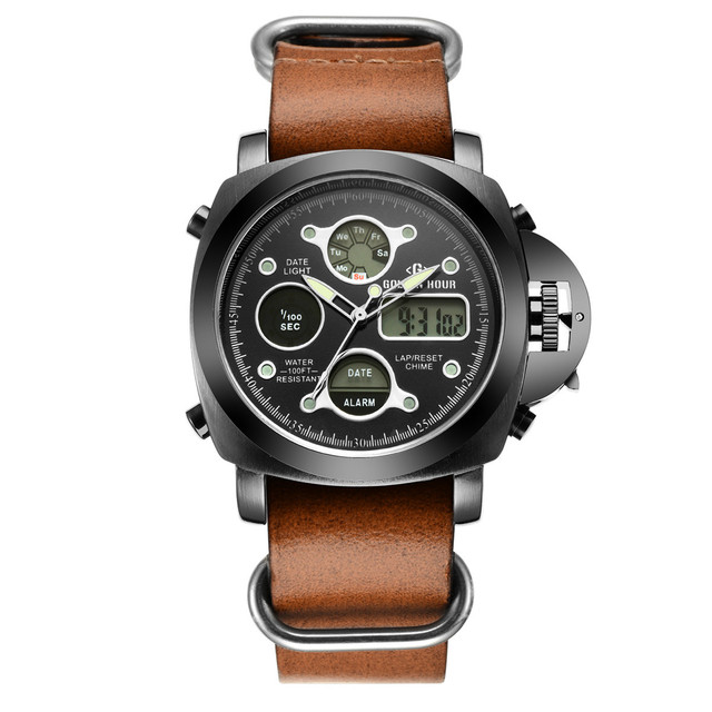 Luxury designed Men Sport Digital Wrist Watch LED Digital Military Army Men Sports Watch with Leather Relogio Masculino