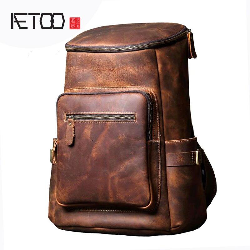 AETOO Handmade borsa a tracolla in pelle originale import primo strato di pelle bovina uomini e donne zaino alpinismo borsa da viaggio borsa