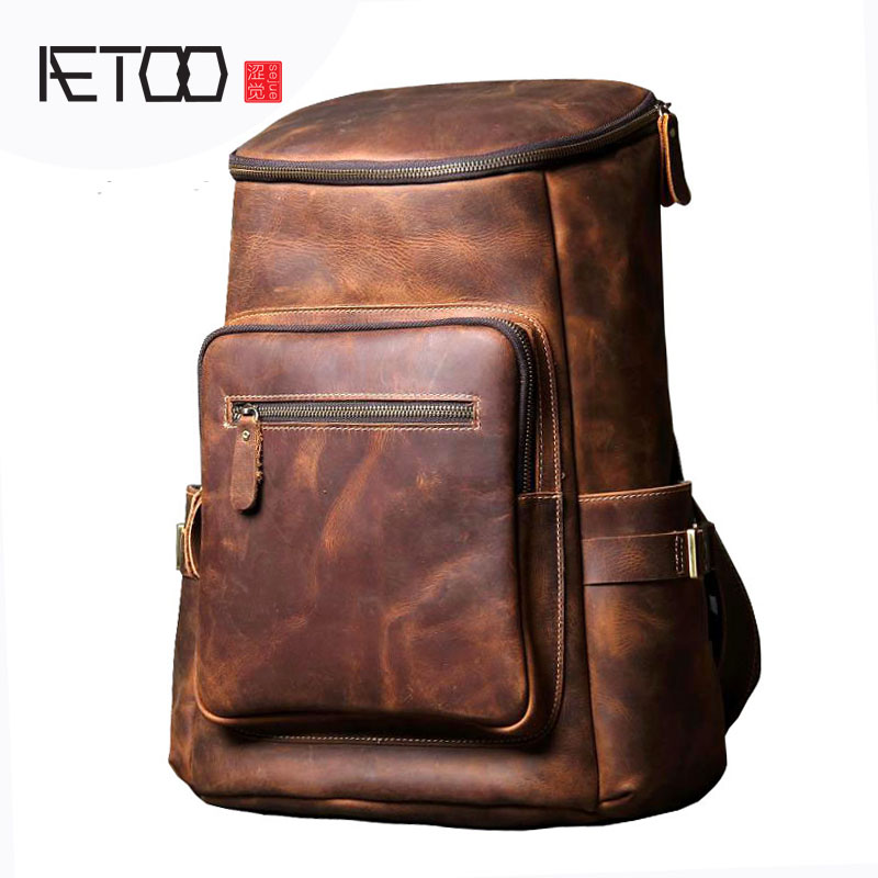 AETOO Handmade leather shoulder bag original import first layer cowhide backpack men and women mountaineering bag travel bag aetoo spring and summer new leather handmade handmade first layer of planted tanned leather retro bag backpack bag