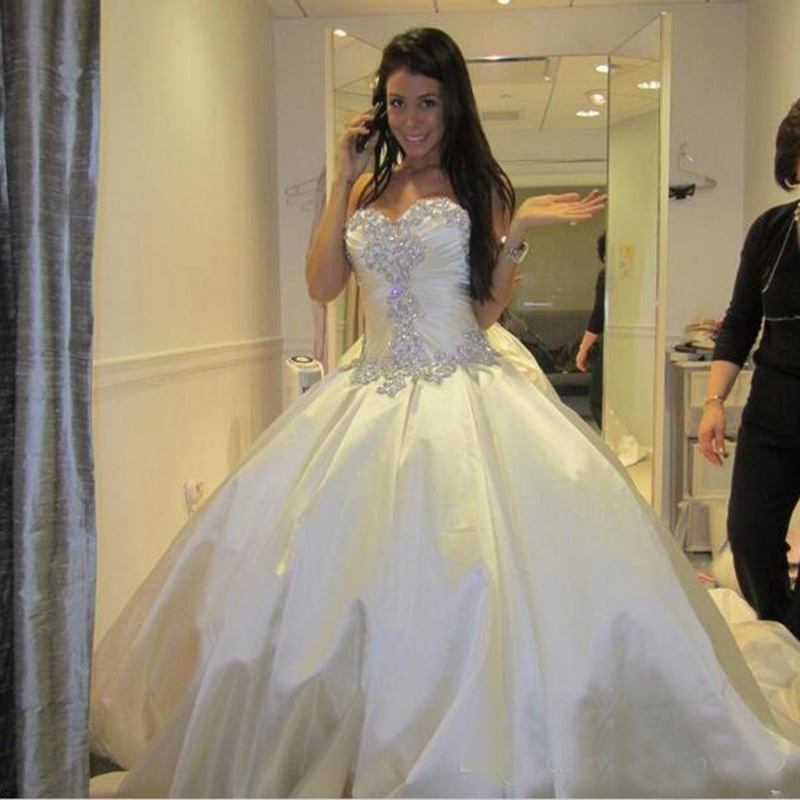Ivory Bling Pnina Tornai Wedding Dresses Sweetheart Ball Gowns Sparkly Crystal Backless Long Train Bridal Gowns Cheap