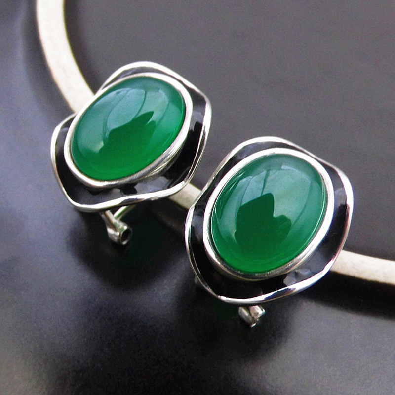 High quality female jewelry 925 sterling silver natural semi-precious stones Green chalcedony garnet earring retro lovers gift 925 sterling silver jewelry natural semi precious stones retro yellow chalcedony earring classical retro girlfriend gift