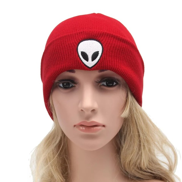 45242f06e16 Fashion adult s warm knitted hat winter ear protection beanies cap alien  pattern pure colors hot sale
