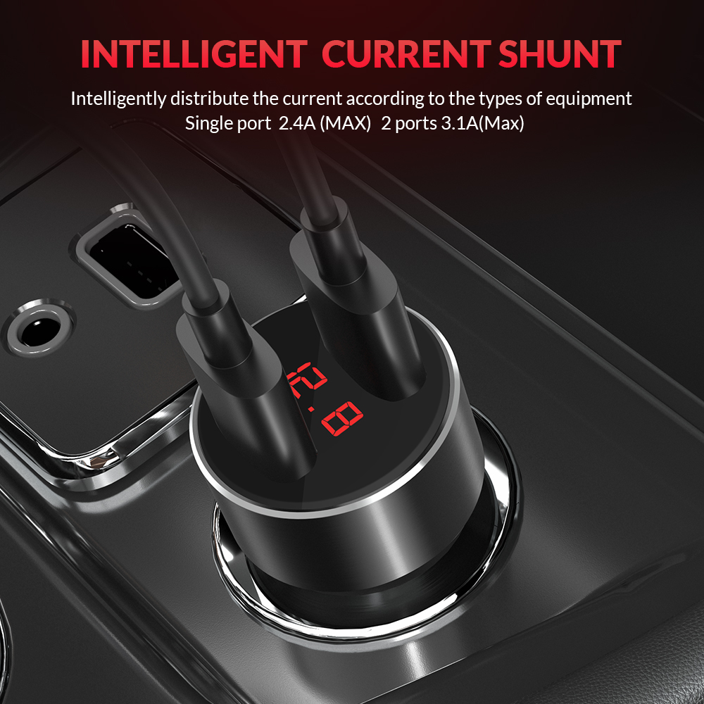 Image 2 - TOPK G209 Digital Display Dual USB Car Charger for iPhone Xs Max Samsung Xiaomi 3.1A Voltage Monitoring Car Charger For Phone-in Car Chargers from Cellphones & Telecommunications