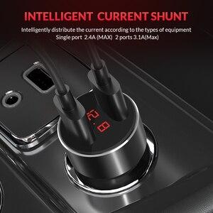 Image 2 - TOPK G209 caricabatteria da auto doppio USB con Display digitale per iPhone Xs Max caricabatteria da auto per monitoraggio della tensione Samsung Xiaomi 3.1A per telefono