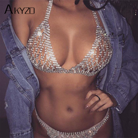 AKYZO 2017 Summer Luxury Rhinestone Crop Top Shining Fashion Handmade Metal Adjustable Chains Backless Vest Sexy