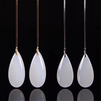 New S925 Certificate Sterling Silver Natural Chinese Hetian White Jade Drop Earrings