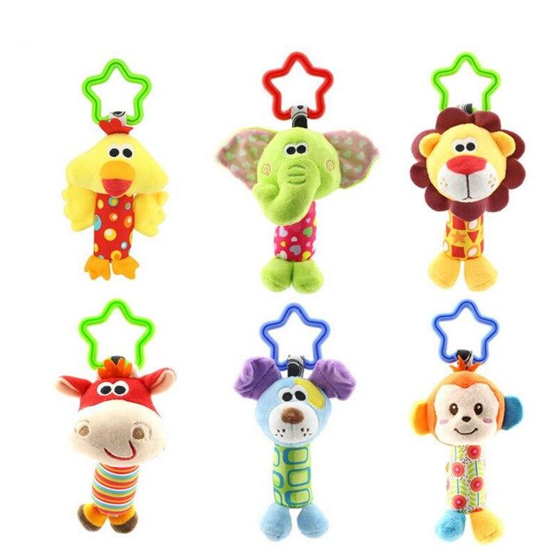 Baby Kinder Rassel Spielzeug Cartoon Tier Plüsch Hand Glocke Baby Kinderwagen Krippe Hängen Rasseln Infant Baby Spielzeug Geschenke 35% off