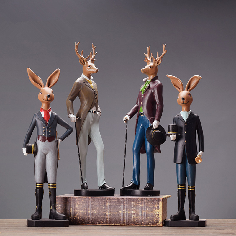 Gentleman Bunny Deer Sculpture Creative Ornament Home
