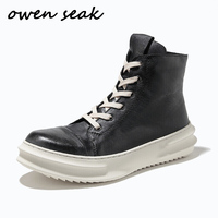 19ss Men Casual Boots Cow Leather High TOP Ankle Luxury Handmade Trainers Spring Rock Zip Lace up Flats Black Shoes Sneakers