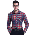 2016 New Fashion Casual Men Plaid Shirt Long Sleeve Trend Slim Fit Men High Quality Male Dress Shirts Men Clothes