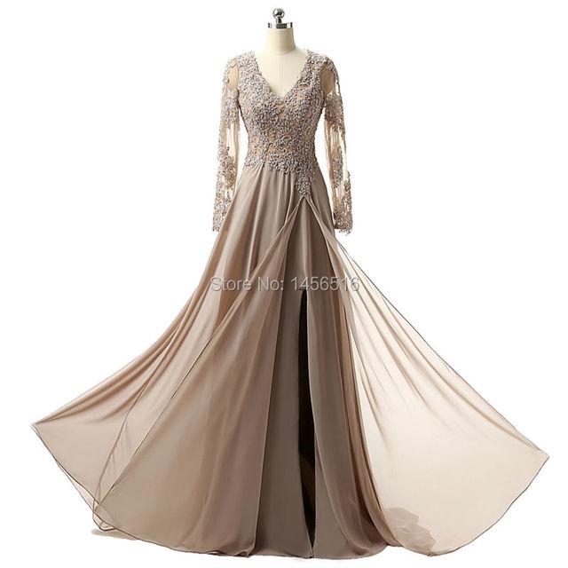 Real Photo Elegant Long Sleeve A Line V Neck Chiffon Lace Beaded Long Evening Dresses Robe De Soiree Manche Longue 122416W