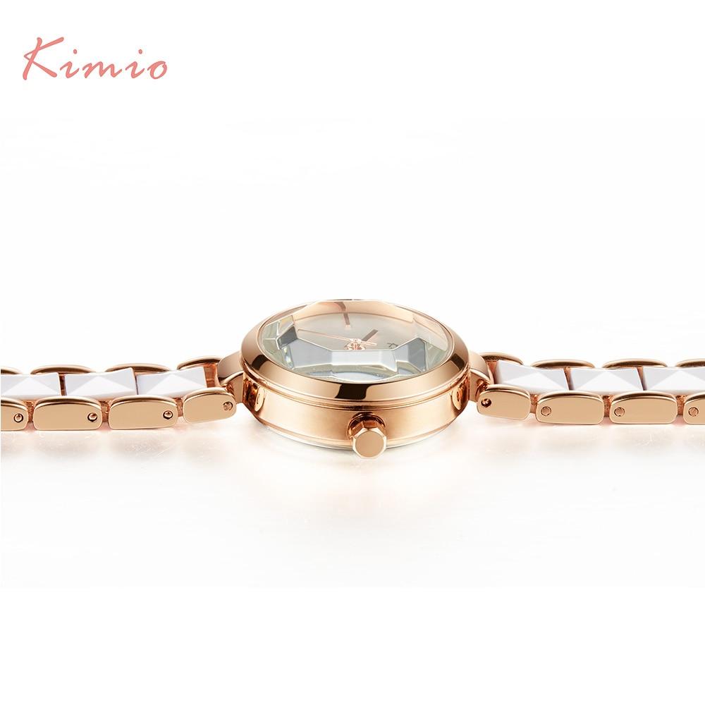 KIMIO Moda Różowe Złoto Bransoletka Zegarek Kobiety Kwarcowe - Zegarki damskie - Zdjęcie 5