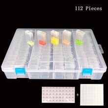 112/224 шт Алмазная картина коробка для хранения инструментов горный хрусталь мозаика контейнер коробка алмазные аксессуары для рисования аксессуар