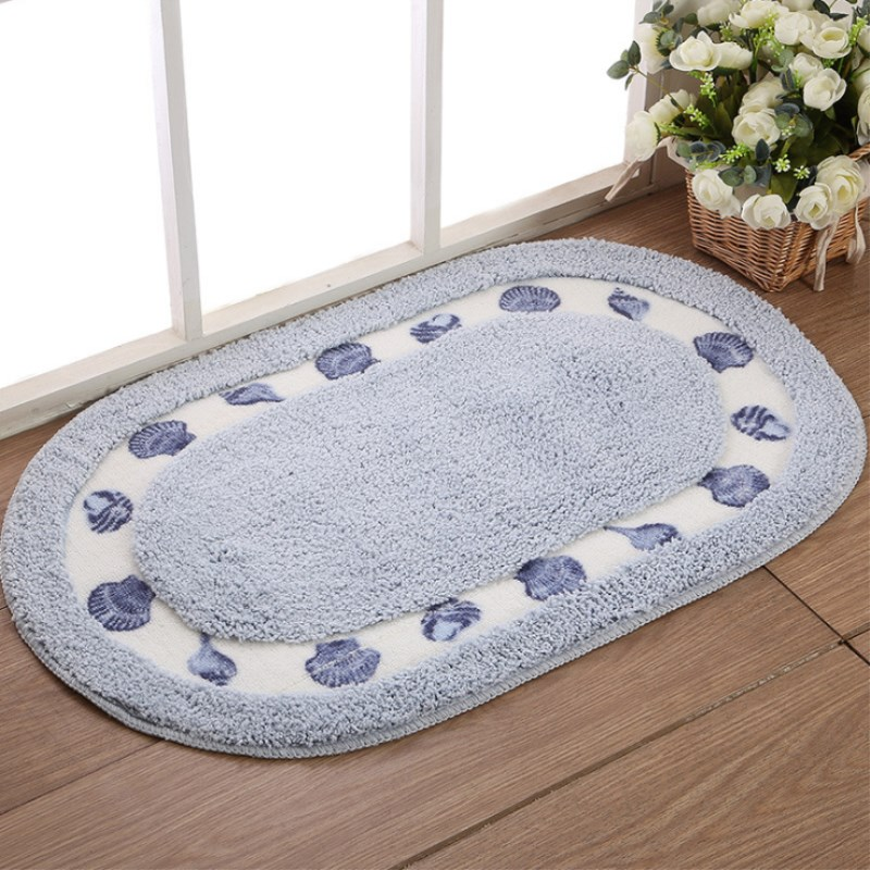 Rural Bathroom Carpets Absorbent Soft Memory Foam Doormat Floor Rugs Oval Non slip Bath Mats Plain Rug Supplies