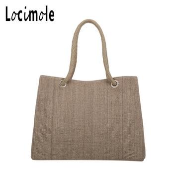 Locimole 2018 Large Straw Beach Bags Casual Women Travel Tote Bag Summer Lady Designer Shoulder Bag BIW109 PM49 grande bolsas femininas de couro