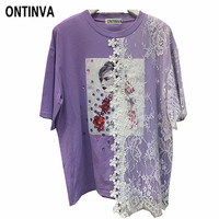 Cute Girls Lolita Tee Shirts Korean Style Fashion Short Sleeve Lace Patchwork Kawaii Graphic Tshirt Black Summer Tops for Women