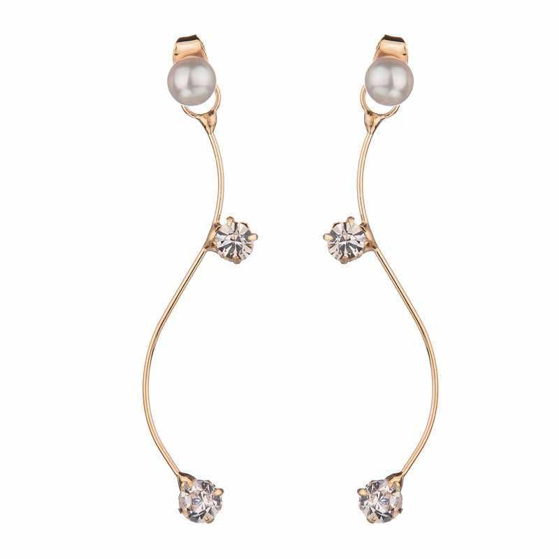 Простой уличная мода кривой S Графика сияющий кристалл Перл ПР темперамент длинные серьги стержня Для женщин
