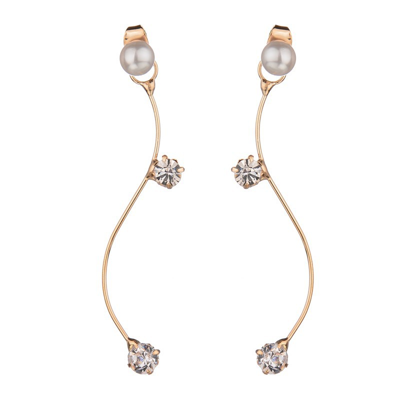 simple street fashion Curve S Graphics shining crystal pearl OL temperament long Stud font b Earring