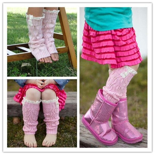 Süß GehäRtet Kinder Fashion Kleines Mädchen Stricken Beinlinge Crochet Spitze Trim Tasten Kinder Bein Wärmer Winter Kid Boot Socken