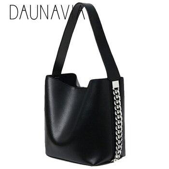 DAUNAVIA Brand New Bucket Bag Leisure Chain Decoration Wide Shoulder Bag Messenger Bag handbag High capacity tote Designer
