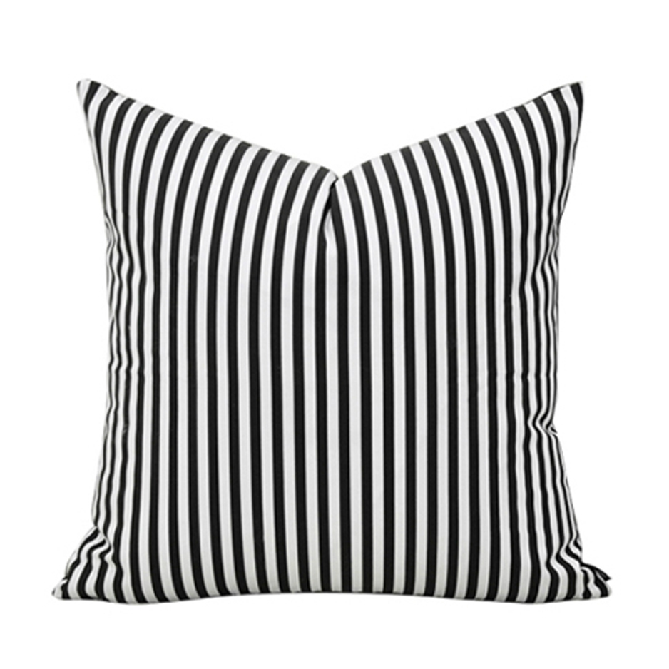 New Black White 1818 Stripe 100 Cotton Home Decor Throw Pillow