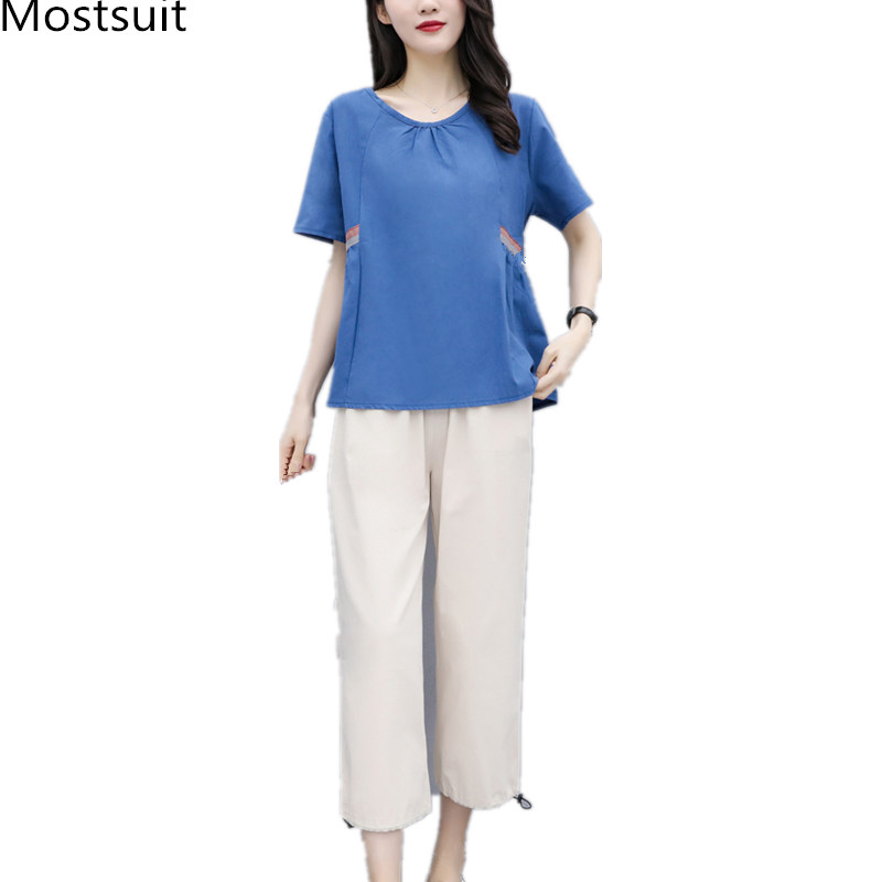 Summer Cotton Linen Two Piece Sets Outfits Women Blue Green Plus Size Short Sleeve Tops And Cropped Pants Casual Vintage Suits 31