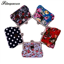 Fashion Canvas Women Mini Wallets With Double Clips 2016 Female Multi Floral Coin Purse Women Folk Style Cards Wallets For Gift