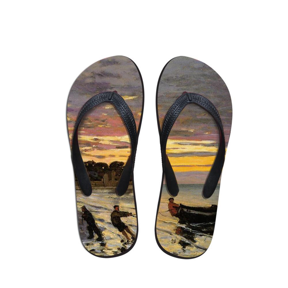 UnermüDlich Neue Ankunft Sommer Männer Flip-flops Hohe Qualität Strand Sandalen Anti-slip Casual Schuhe Malerei Druck Claude Monet 2019 Herrenschuhe Flip-flops