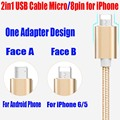 100PCS/Lot 2 in 1 USB Cable Micro to 8pin for iPhone 5 6 7 Plus iPad Android Phone Weave Style Fast Charging Cable 2.1A RC04