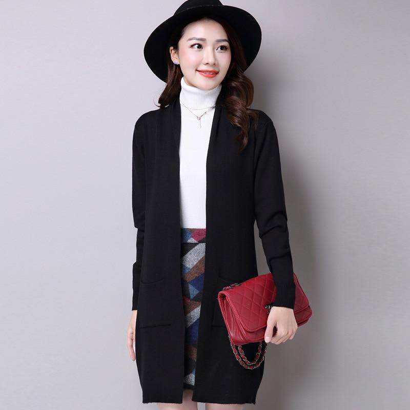 2017 Fashion Autumn Winter Knitting Sweaters for Women Long Cardigan Women Knitwear Solid Green/Black/Red