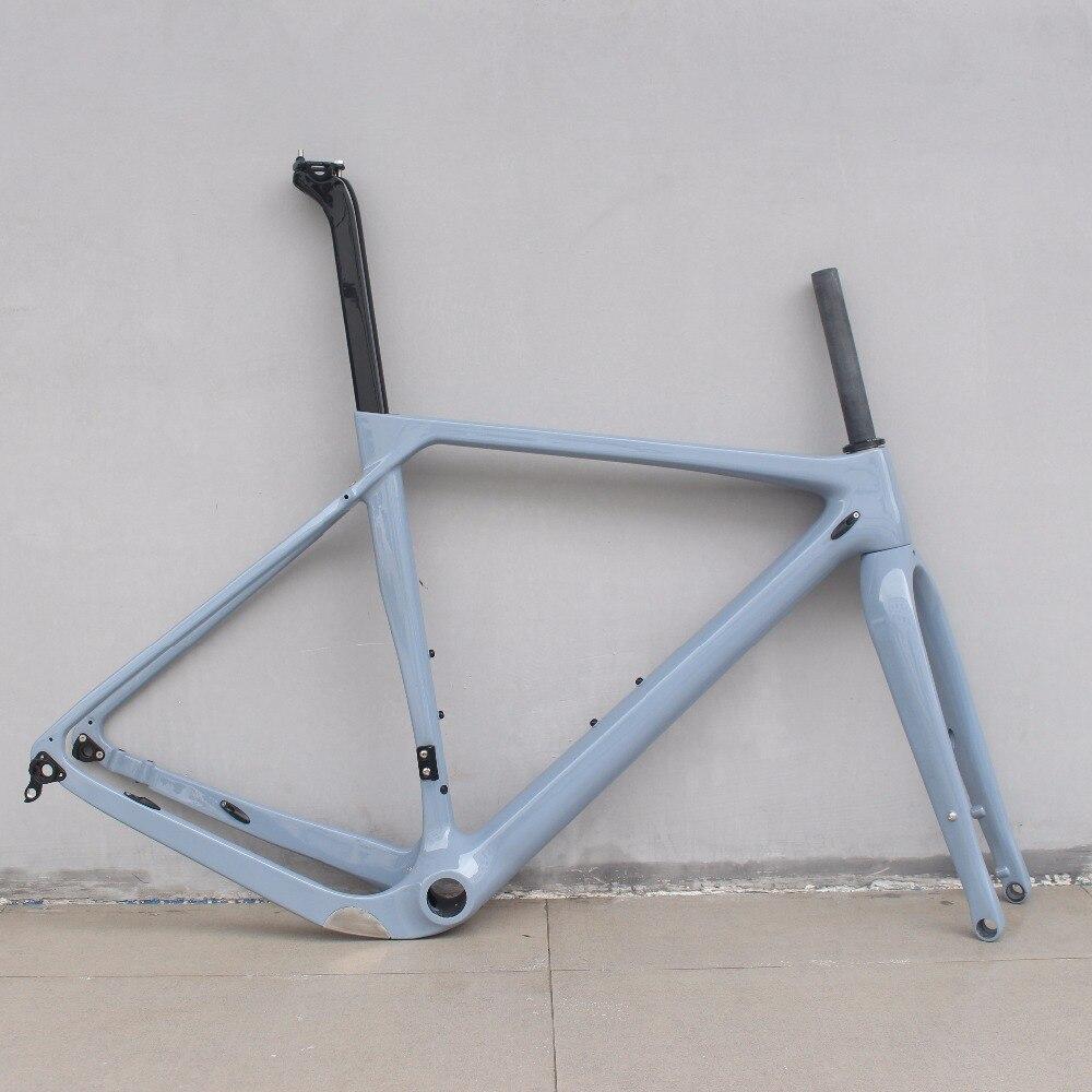 Full Carbon Gravel Bicycle Frame Road Bike Cyclocross Frame 140mm Disc Brake Thru Axle 142*12 Size S/M/L/XL Carbon Racing Gravel