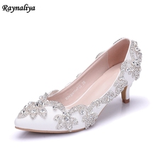 5CM Heel Women Shoes Dress Heels White Matte Rhinestone Crystal Wedding Pumps High Heels Princess Pointed Toe XY-A0013 handmade women pumps princess shoes pearl rhinestones wedding shoes crystal adult ceremony super high heels xy a0044