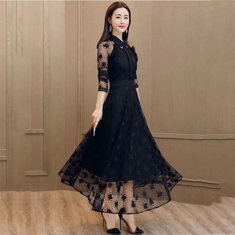 D'été Féminin Nouvelle Mince Noire Robe Mode Plissée Ajouré