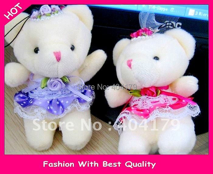 Promotional gift plush toys doll wedding mini bear wear wedding dress for birthday wedding gift phone charm 8cm 4colors 20pc/lot