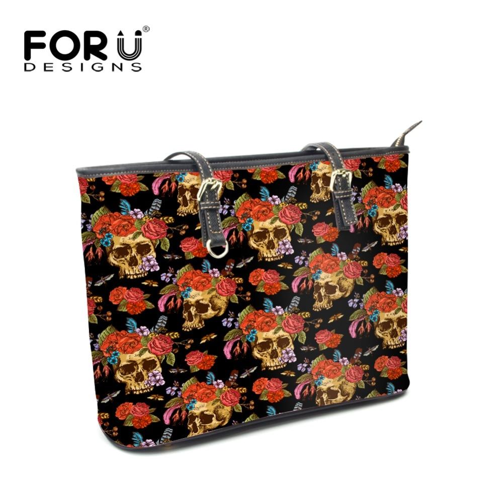 FOURDESIGNS Women Shoulder Bags High Quality Handbags Skull Head Print Top-handle Bags Ladies Big Capacity Shopping Luxury Totes cactus print cold shoulder top