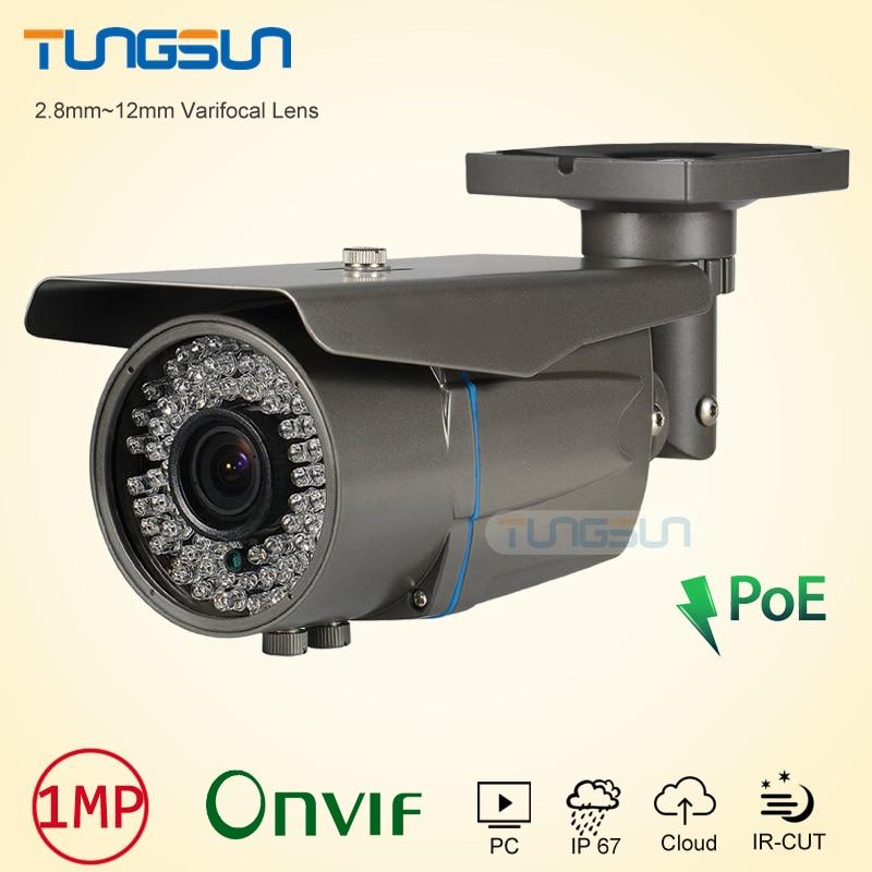 Zoom Varifocal 2.8-12mm Lens cam 720P 960P Network POE IP Camera Onvif Bullet Waterproof 78 IR Security Gray/White CCTV Camera