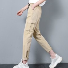 2019 Spring Summer Women Cargo Pants Casual  Elastic Wasit Trousers Streetwear Solid Color Loose Ankle-Length Pants men ankle length loose cargo pants solid black color casual jogger side all match pocket elastic waist trousers spring