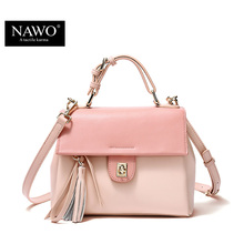 NAWO 2016 Leather Women Bag luxury brand Panelled Crossbody Bags For Women Tassel Ladies Shoulder Valentine Bags Handbags Small(China)