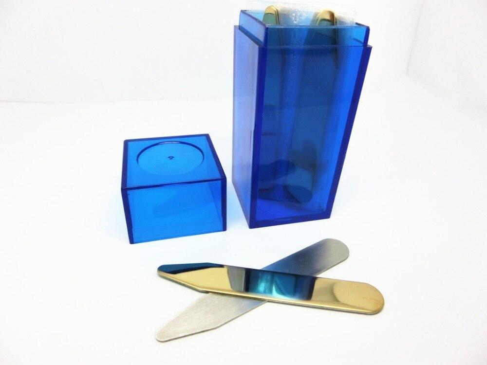 SHANH ZUN 10 Pcs Double Side Polish Stainless Steel Collar Bones For Mens Shirt In Blue Plastic Bottles