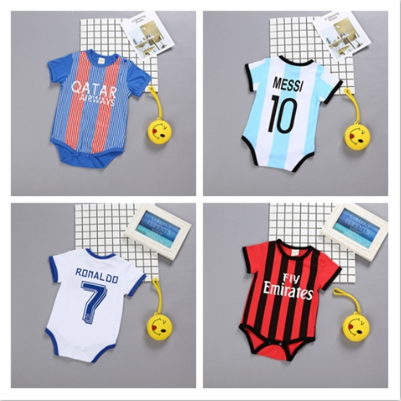fde891a3336 Newborn Baby Summer Rompers Sports Football Baby boy Girls Short Sleeve  Clothes One Piece Overalls Infant