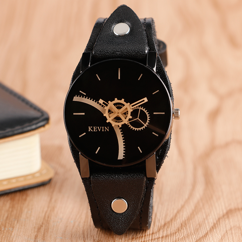 Creative Men Black Wrist Watch Special Gear Classic Rock Punk Leather Band Strap Fashion Women Quartz Watches adjustable wrist and forearm splint external fixed support wrist brace fixing orthosisfit for men and women
