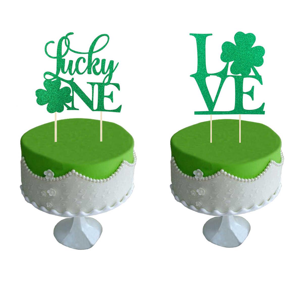 Awe Inspiring 2Pcs Shamrock Love Lucky One Cake Topper Glitter Clover Cupcake Birthday Cards Printable Trancafe Filternl