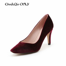 2017 Sexy Flock High Heels Women Heeled Shoes Fashion Women's Pumps Brand Shoes Thick Heels Party Office Ladies Shoes Big Size