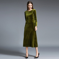 2017 Autumn Winter Camisole Long Sleeved Dress Green Velvet Dress Two Piece Suit Dress High Quality
