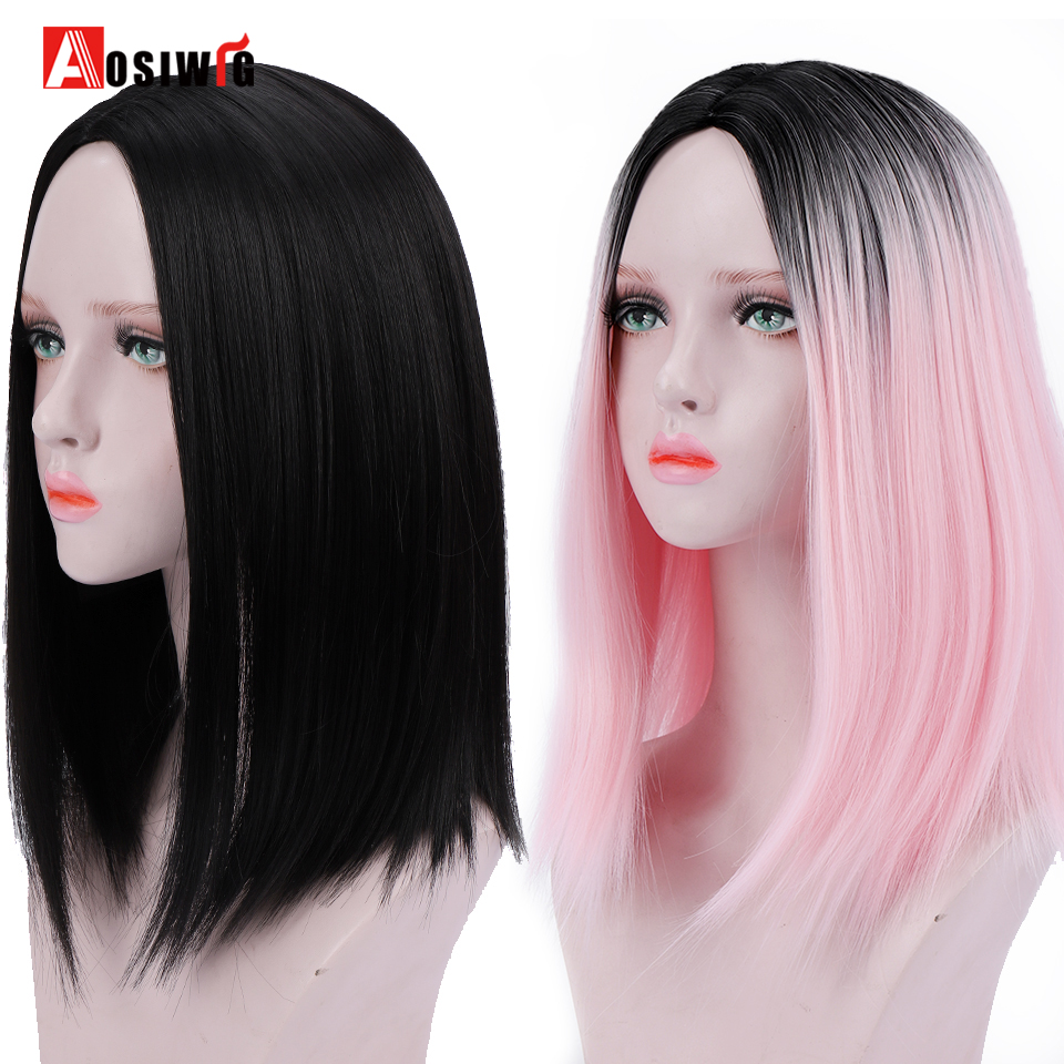AOSIWIG Short Straight Ombre Bob Wigs Synthetic High Temperature Fiber  Halloween Party Cosplay Hair Wig For Women