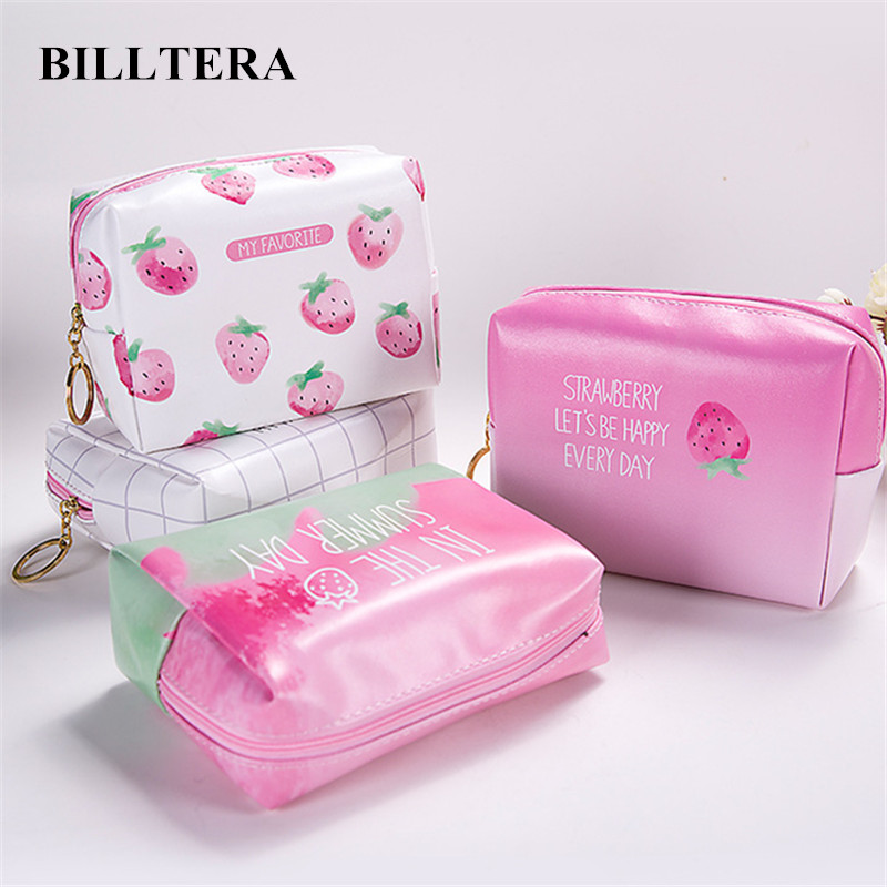 BILLTERA Pink Travel Cosmetic Bags Women Cute Strawberry ...