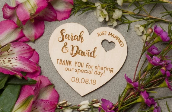 Wedding Wooden Save The Date Magnets