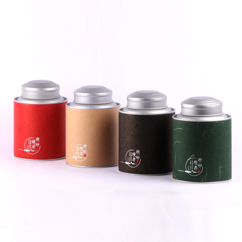 Xin Jia Yi Packaging Tea Paper Round Box Double Metal Lid Cardboard Tube Can Wholesale Kraft Coffee Paper Cylinder Containers